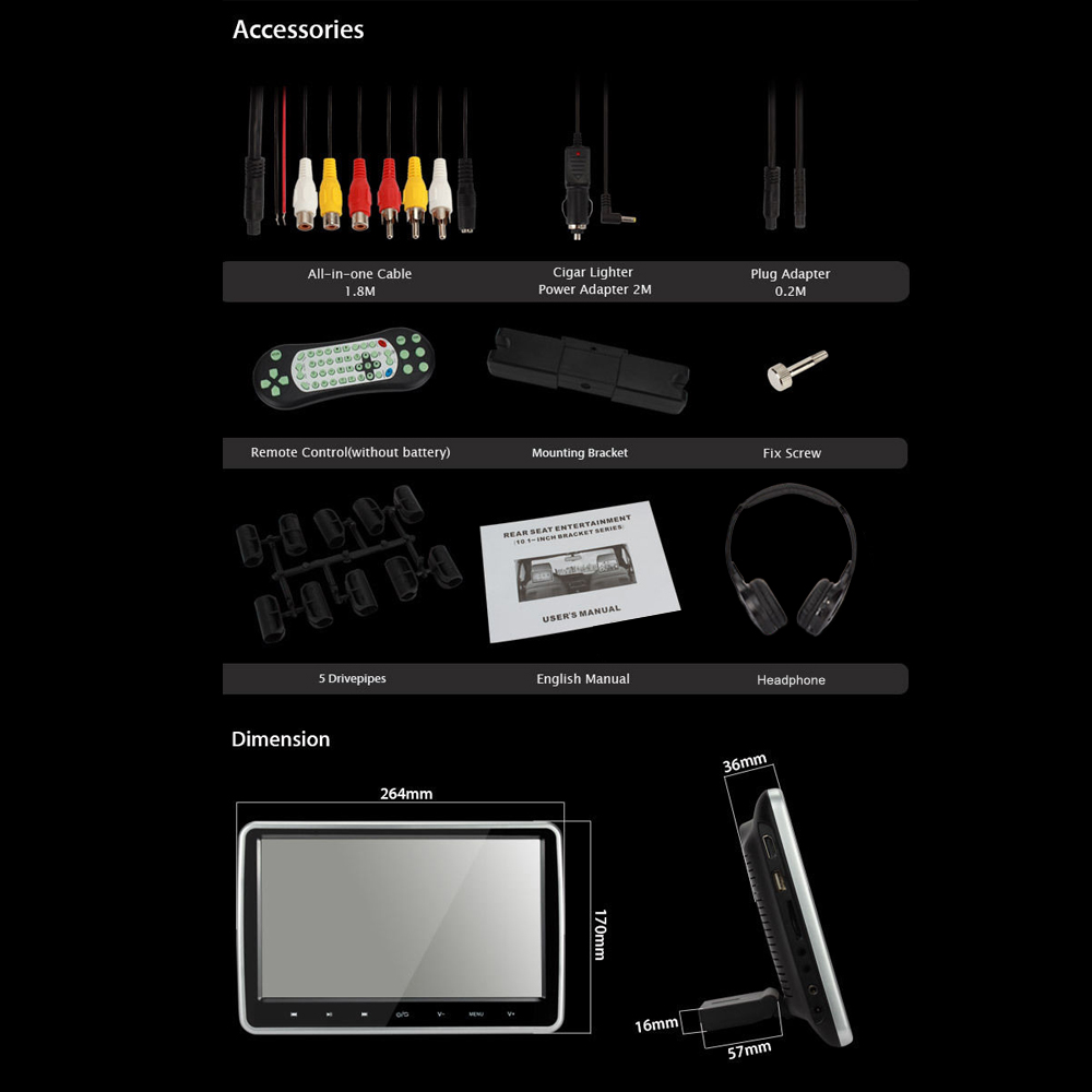 10 1 innen kopfst tze lcd tft monitor bildschirm f r. Black Bedroom Furniture Sets. Home Design Ideas