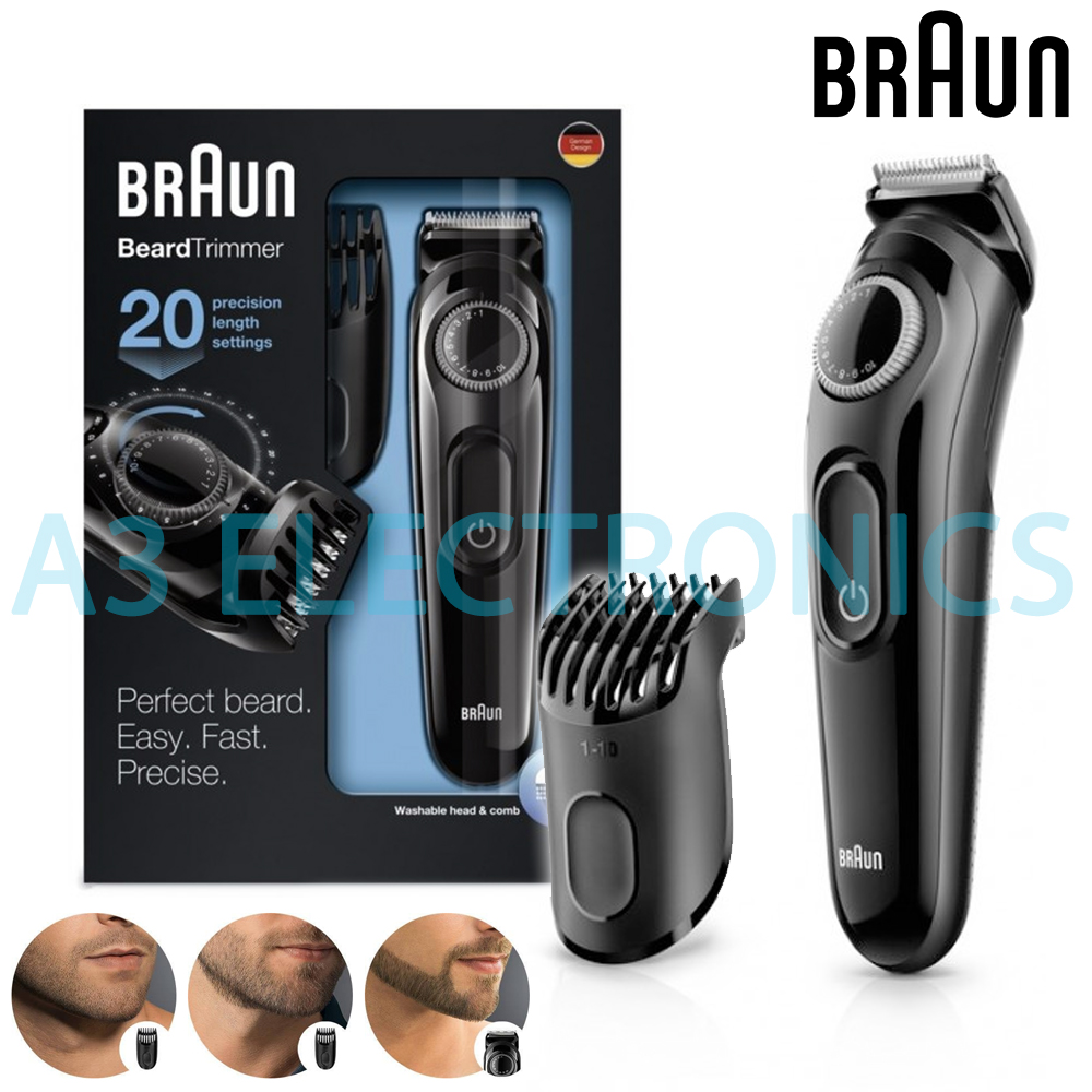 braun beard hair trimmer rechargeable cordless with adjustable length bt3020. Black Bedroom Furniture Sets. Home Design Ideas