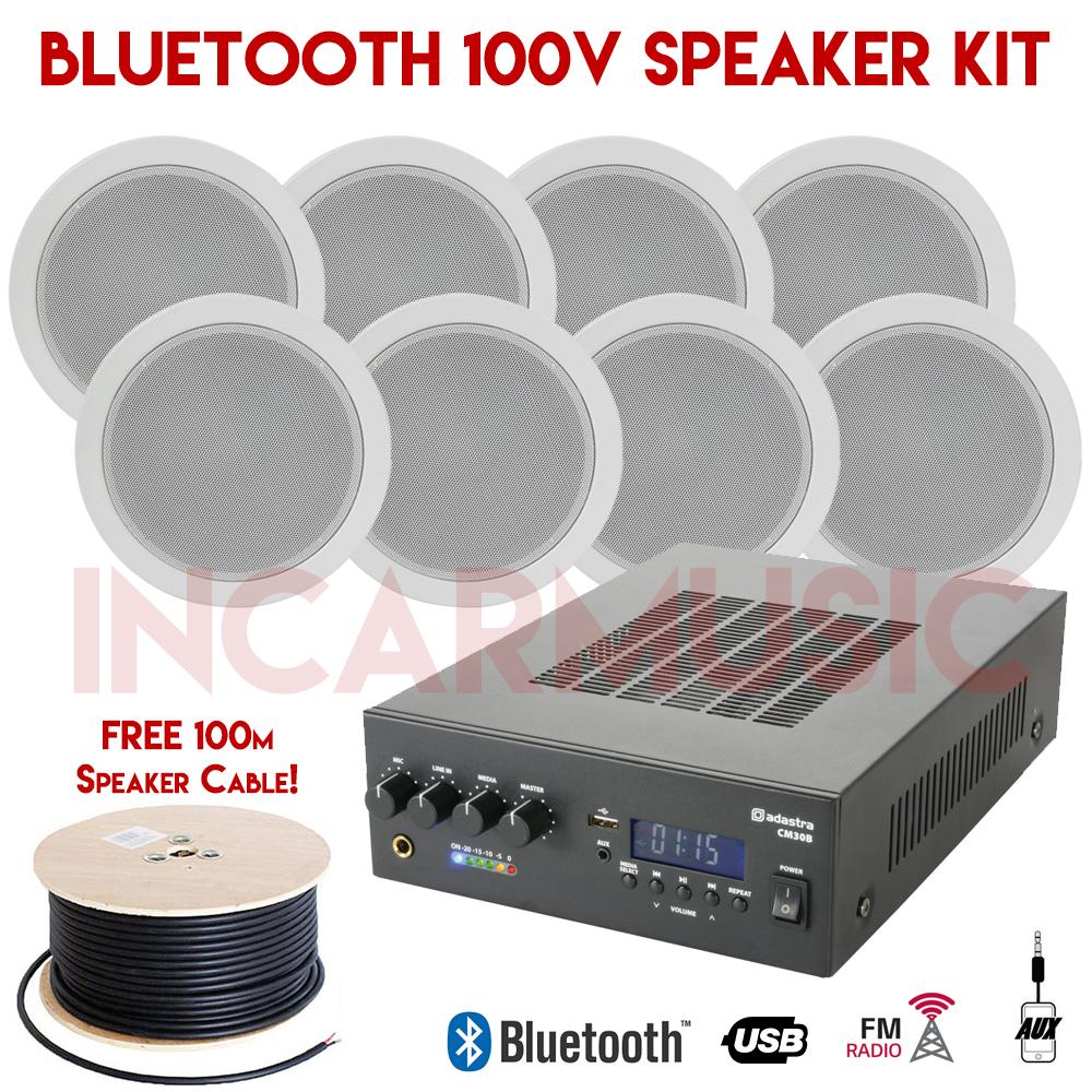 8x speakers 100v line bluetooth usb fm amplifier kit for. Black Bedroom Furniture Sets. Home Design Ideas