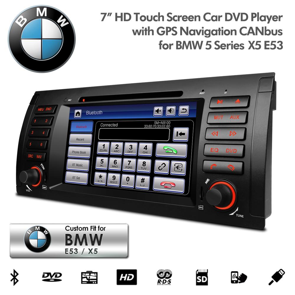 bmw x5 e53 7 hd touchscreen navigation dvd player usb sd. Black Bedroom Furniture Sets. Home Design Ideas