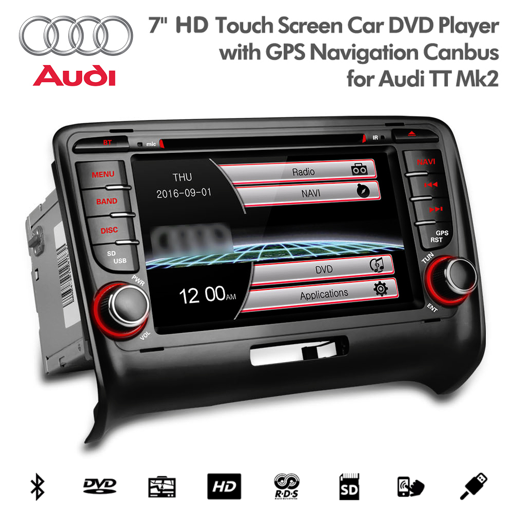 7 hd bluetooth navigation car dvd usb sd aux stereo for. Black Bedroom Furniture Sets. Home Design Ideas
