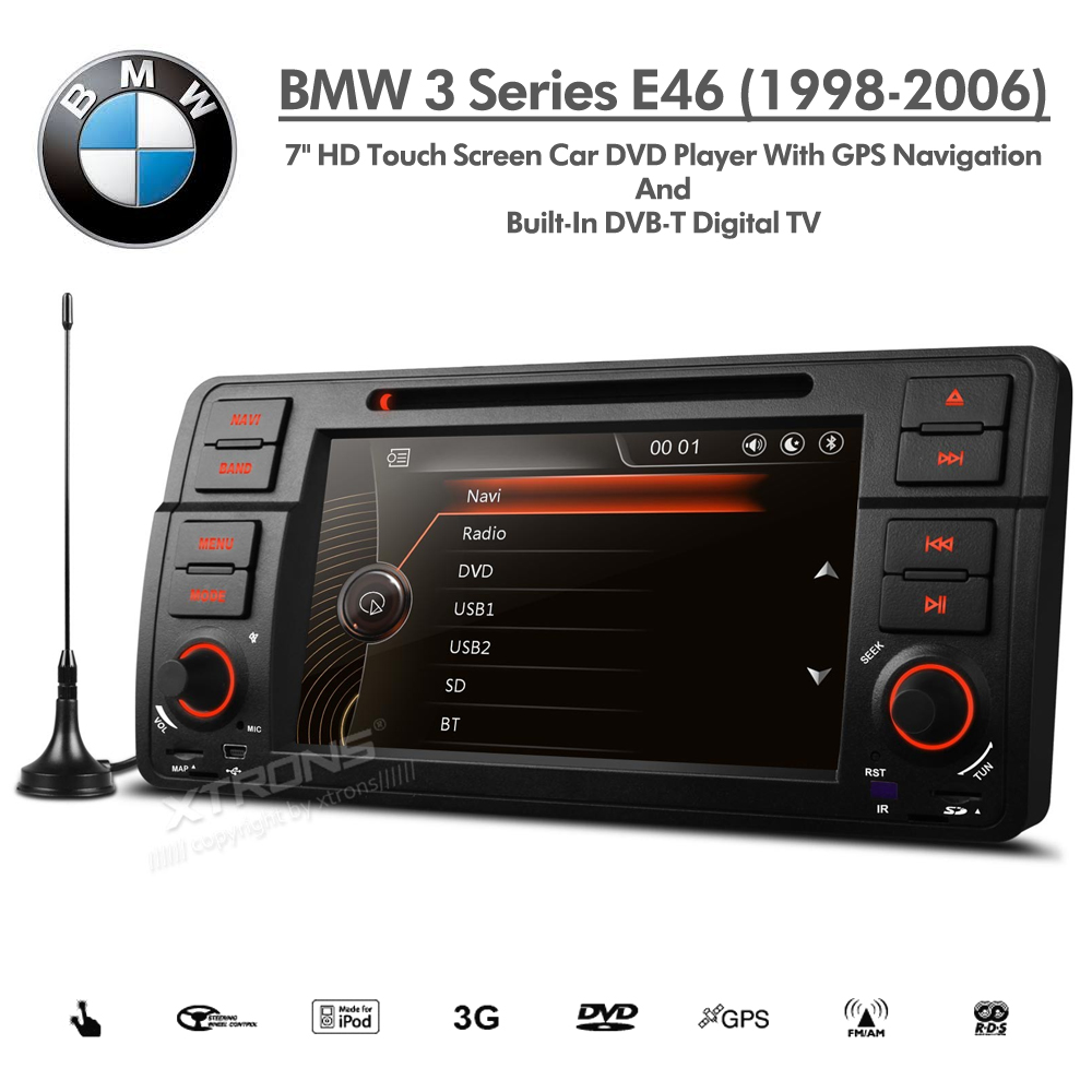 bmw 3 series e46 7 u0026quot  hd double din satnav car dvd usb aux