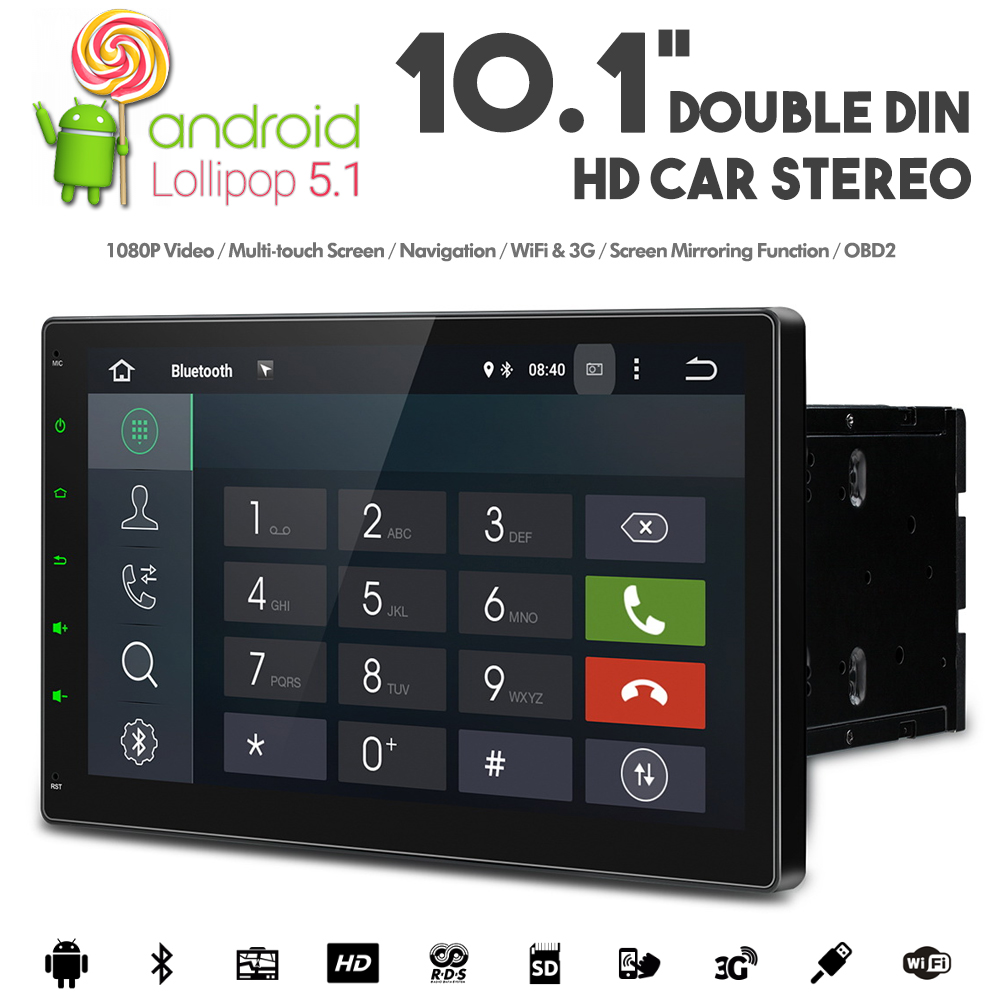 10 1 android double din car stereo with wifi 3g gps usb. Black Bedroom Furniture Sets. Home Design Ideas