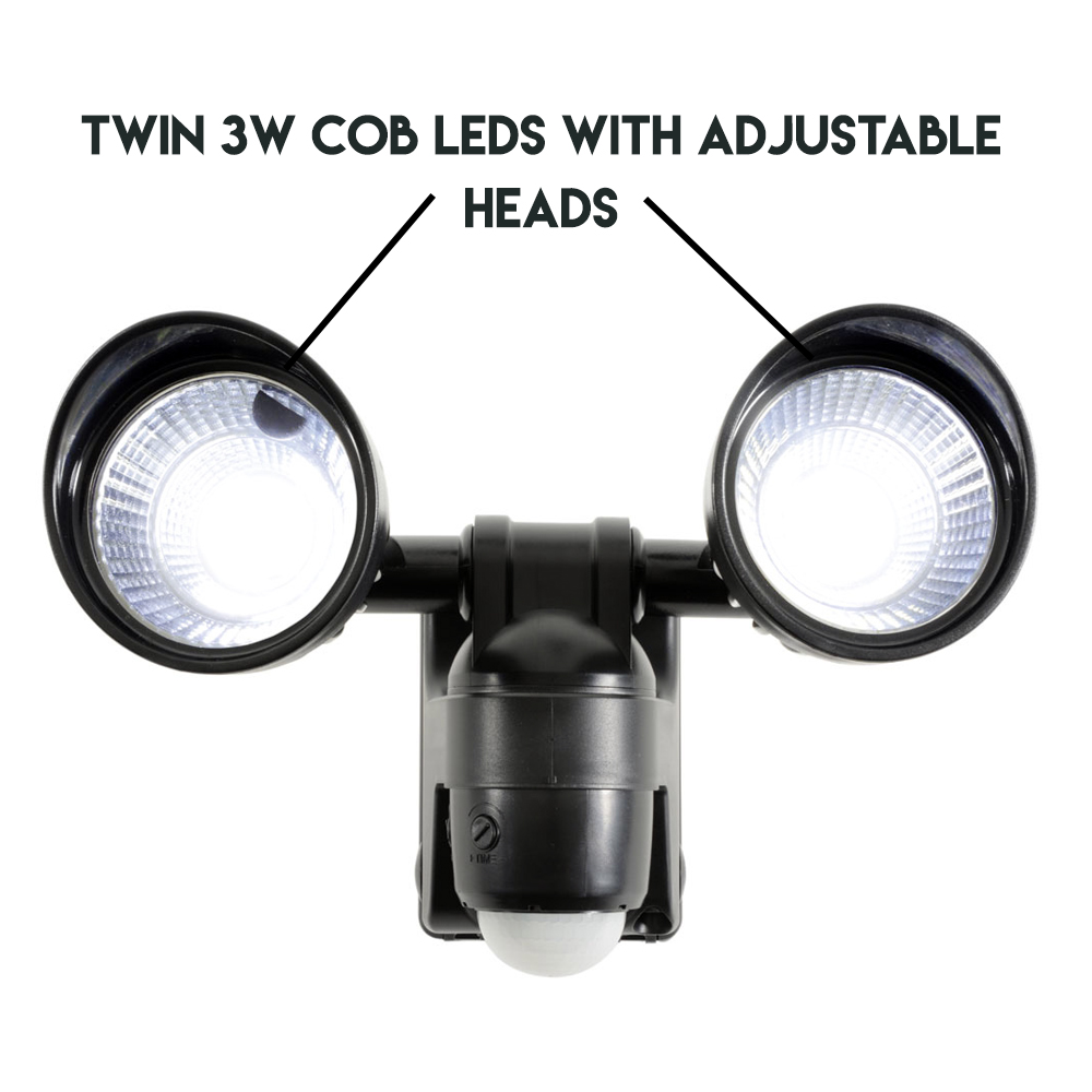 Outdoor Dual 3w Led Bright Pir Security Flood Light Wall