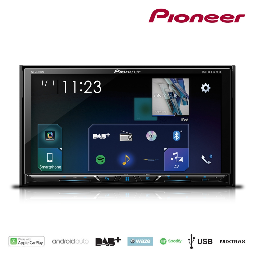 pioneer avh z5100dab 7 bt android auto carplay stereo dvd. Black Bedroom Furniture Sets. Home Design Ideas