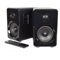 Black Bookshelf Speakers, Modern 3.5'' Woofers and 1'' Dome Tweeters with Active Bluetooth