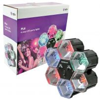QTX Light LED Party Disco Light - 6-Way - Sound Chase Activated Interlink Lights