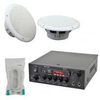 Cafe Restaurant USB SD Bluetooth Amplifier 2x Ceiling Speaker System Kit