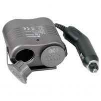 Double Cigar Lighter 1.2m Extension Socket Adaptor 12Vdc Twin Car Truck Cig Plug