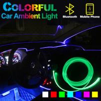 Car Ambient Lights for Doors, Dashboard, Centre Console, Foot Light,  APP Control RGB LED Strips 64Colors Fiber Optic Band OEM Look