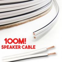 Loud HiFi Ceiling Wall Speaker Cable Wire White - 100m Roll Reel