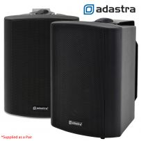 2x Black Wall Mount Weatherproof Speakers PA 100v Background Music System - 140W