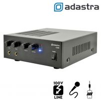 Compact 100V Line PA Public Address Mixer Amplifier - 2x Mic In / 1x RCA Aux In