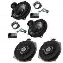 Audison 2 Way Front Door Speaker & Tweeter Kit and  8 Inch Under Seat Car Subwoofer For BMW