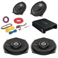 BMW 1,2,3,4,5,6,7,X Series Sound System upgrade for Front Door Speakers, Underseat Subwoofers with a 4 Channel Amplifier