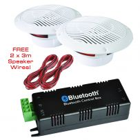 Bathroom Wireless Bluetooth Amplifier 2 x Moisture Resistant Ceiling Speakers