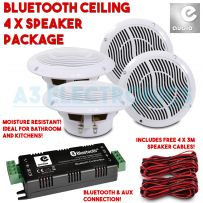 Bluetooth Aux 4 x Ceiling Speaker Sound System Kit For Bathroom Kitchen Bedroom