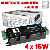 4 x 15w Bluetooth & Aux Mini Amplifier With 4x 3m Cables For Ceiling Speakers