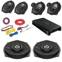 BMW 1,2,3,4,5,6,7,X Series Car Speakers, Subwoofer with 5 Channel Amplifier Package including Cables