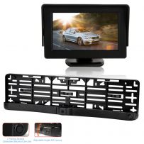 2 In 1 Camera Parking Sensor UK/EU Size Number Plate Frame with 4.3'' Monitor