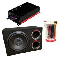 Vibe Slick 12 Inch 30cm 1200W Car Subwoofer Bass Box + Amplifier Wiring Package Kit