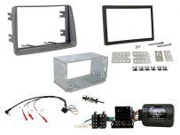CTKFT19 FiatPanda Dark Grey Double Din Fascia Panel Fitting Kit + Steering Control Interface