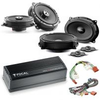 Focal Inside Car Audio Upgrade 2 Way Component and Coaxial Speaker Kit plus Amplifier for Nissan, Dacia