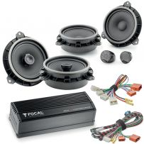 Focal Inside Car Audio Upgrade 2 Way Component and Coaxial Speaker plus Amplifier Package for Toyota Vehicles