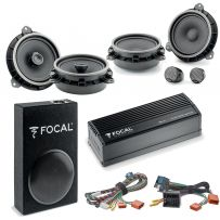 Focal Inside Car Audio Upgrade 2 Way Component and Coaxial Speaker plus Amplifier and Subwoofer Package for Toyota