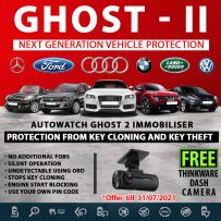 Autowatch GHOST 2 Immobiliser Vehicle Security +  FREE Thinkware 1080P FHD Dashcam with Parking Mode and GPS