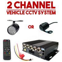 2x Cameras Vehicle CCTV DVR In Car Taxi Van Camera Security Monitoring System