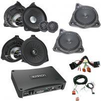 Mercedes Audio Upgrade Custom Package with Front Door 2-Way Component Speakers, Rear Door Coaxial Speakers, Woofers and Amplifier