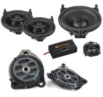 Match Mercedes Audio Upgrade Custom Package with 2-Way Component Speakers, Coaxial Speakers and Subwoofers