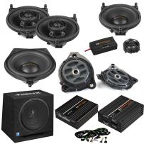 Match Mercedes Full Audio Upgrade Custom Package with 2-Way Component Speakers, Coaxial Speakers, Subwoofers & Amplifiers