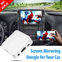 Car Wireless Display Box Mirror Phone to Car Screen, Support Miracast from iOS Android Phone Screen Mirroring for Car, GPS Navigatoin, HDMI/CVBs Output