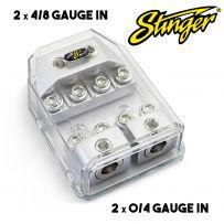 Stinger SHD823 Dual MIDI Fuse Holder Distribution- 0/4 Gauge in to 4/8 Gauge Out