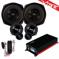 Vibe Car Audio 3 Way Component Door Speakers with Under-Seat Subwoofer and 4 Channel Amplifier Package for BMW