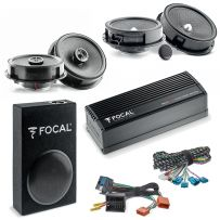 Focal Inside Volkswagen Car Audio Upgrade 2 Way Component and Coaxial Speaker plus Amplifier and Subwoofer Package
