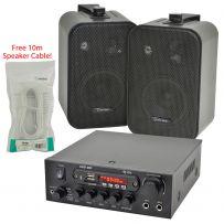Bar Club Cafe Restaurant Digital Stereo Bluetooth Amplifier & 2 x Wall Mount Speaker Package Kit