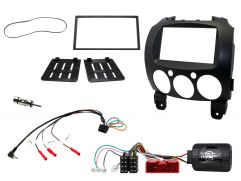 Double Din Car Stereo Fascia Steering Wheel Control Fitting Kit for Mazda 2 2008 Onwards