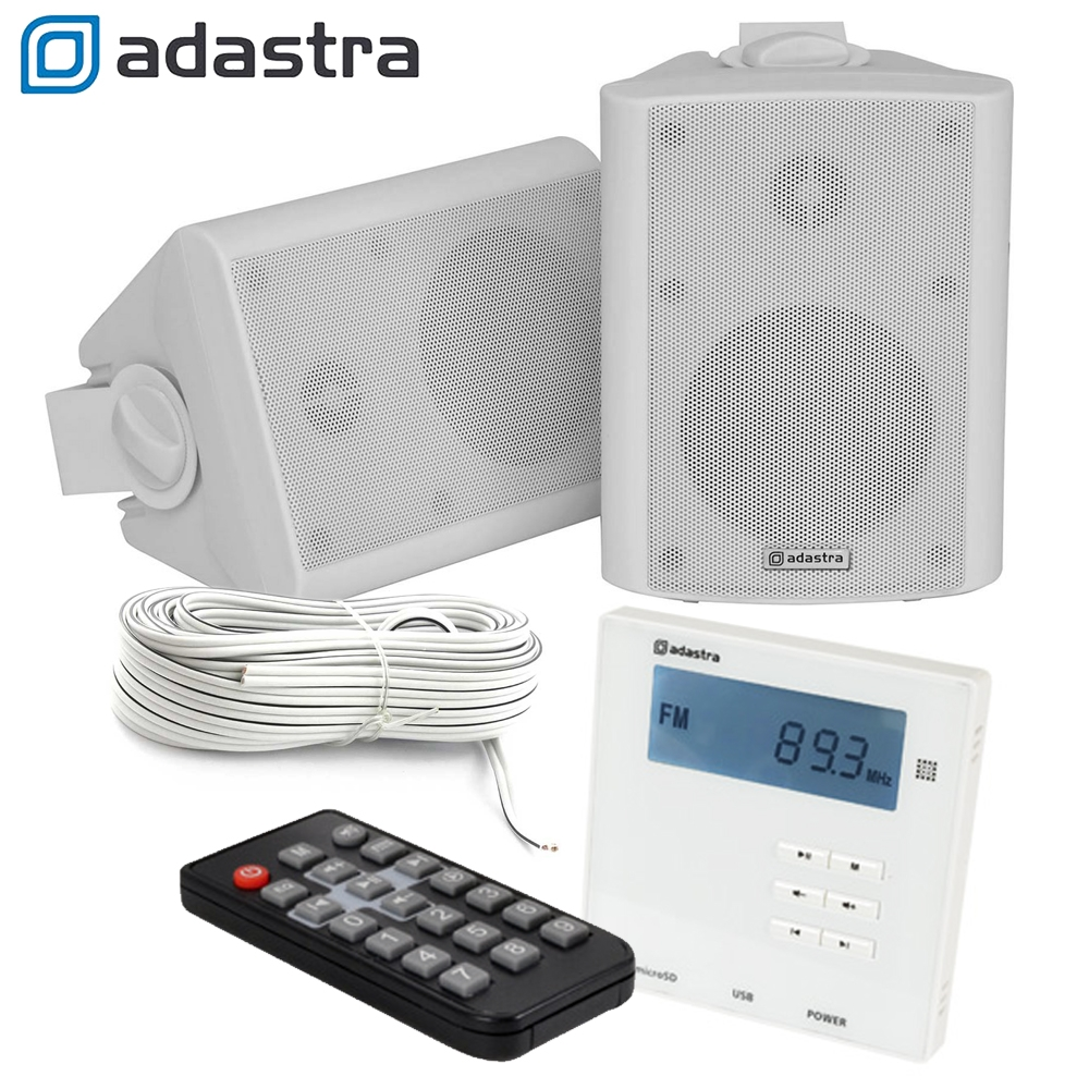 wall usb sd bluetooth amplifier with radio 2x 4 inch wall mount speaker kit 5015972192436 ebay. Black Bedroom Furniture Sets. Home Design Ideas
