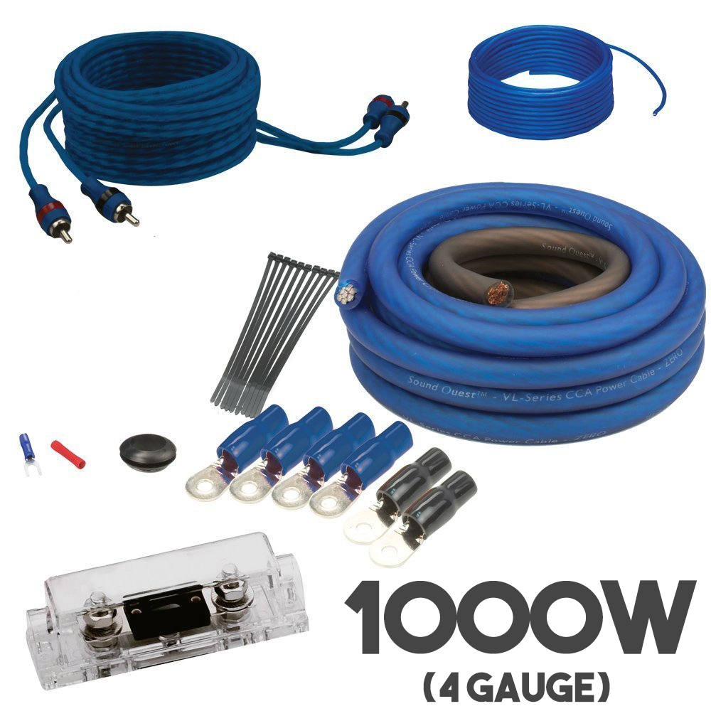 soundquest 4 awg gauge subwoofer amplifier amp wiring cable kit rca