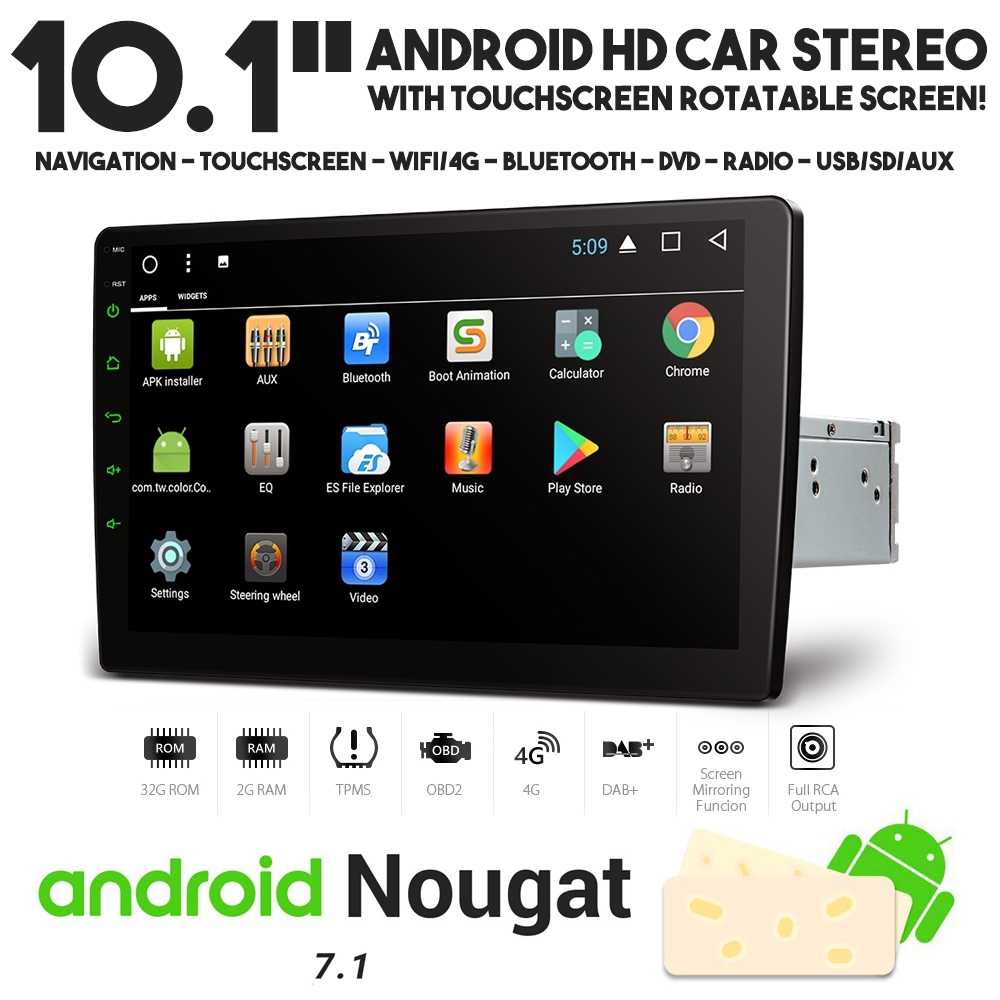 10 1 android 7 1 doppel din wifi 4g navi usb stereo mit. Black Bedroom Furniture Sets. Home Design Ideas