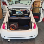 Fiat 500 installed customer s own radio and sub box