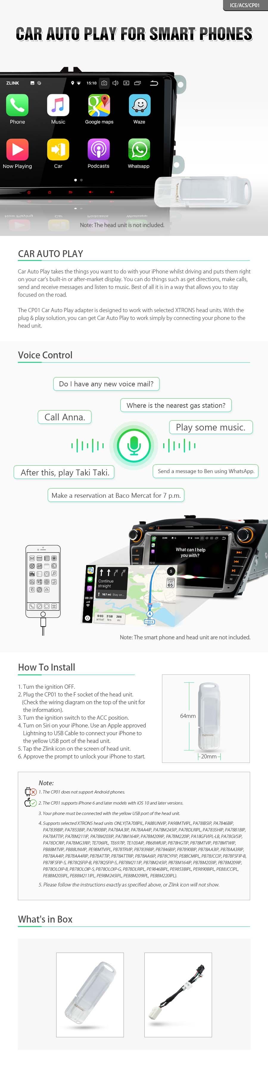 Xtrons CP01 Car Auto Play Interface