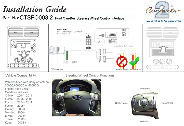 CTSFO003 2 Ford CAN BUS Steering Wheel Interface Stalk Control