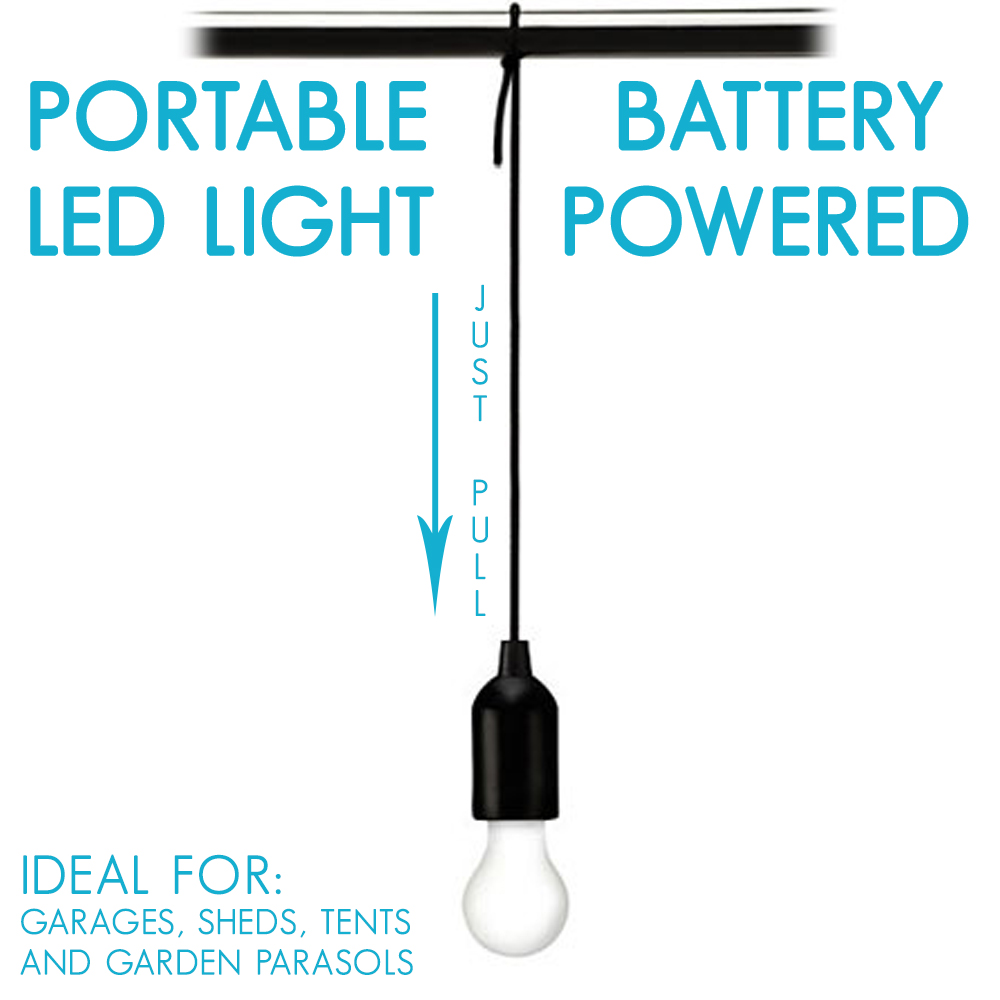 LED Pull Cord Hanging Light Portable Light Garages Sheds Tents Battery Powered