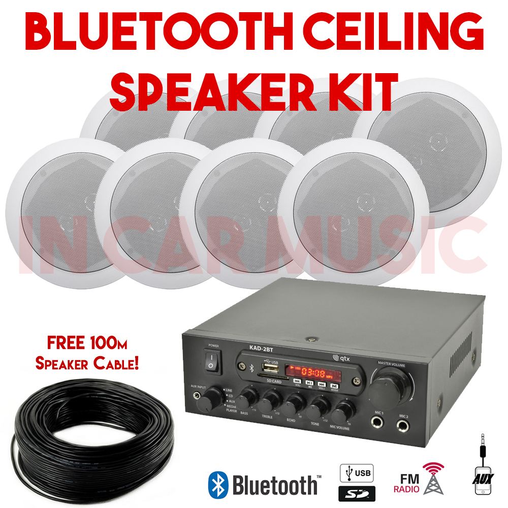 8x Ceiling Speaker Amplifier Gym Shop Bathroom Restaurant Bluetooth Music Kit Ebay